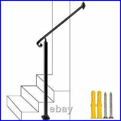 2-3 Step Handrail, Wall&Floor Mounted Wrought Iron Handrails, Stair Rail 2 FT