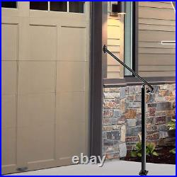 2-3 Step Handrail, Wall&Floor Mounted Wrought Iron Handrails, Stair Rail with Kit