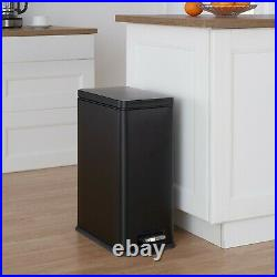 30 Liter Trash Can Bin Lid Pedal Garbage Container Step Stainless Steel Black
