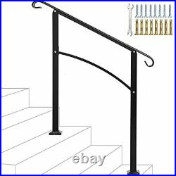 3 Step Handrail Arch, Mattle Wrought Iron Handrail 1 or 3 Step, Stair Rail with