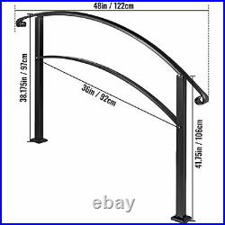 4-Step Handrail Fits 1 or 4 Steps Matte Stair Rail Wrought Iron 4FT Black
