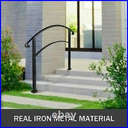 4 Steps Matte Black Stair Rail Wrought Iron Handrail with Installation Kit
