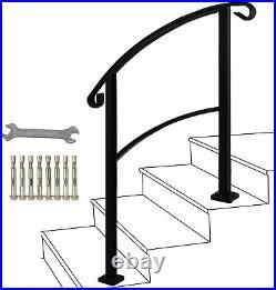 ATHOR Black Handrail, 3 Step Handrail Fits 1 to 3 Steps Mattle Wrought Iron