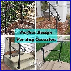ATHOR Black Handrail, 3 Step Handrail Fits 1 to 3 Steps Mattle Wrought Iron Stair