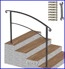 ATHOR Black Handrail, 4 Step Handrail Fits 1 to 4 Steps Mattle Wrought Iron Stair