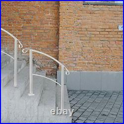 ATHOR White Handrail3 Step Handrail Fits 1 to 3 Steps Mattle Wrought Iron Han