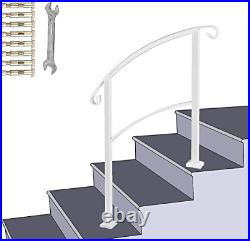 ATHOR White Handrail, 3 Step Handrail Fits 1 to 3 Steps Mattle Wrought Iron Stair