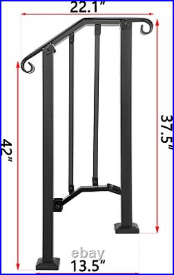 Adjustable Handrail, Handrail Picket #1 Fits 1 or 2 Steps Mattle Wrought Iron Kit