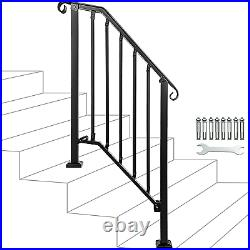 Adjustable Handrail, Handrail Picket #2 Fits 2 or 3 Steps, Mattle Wrought Iron