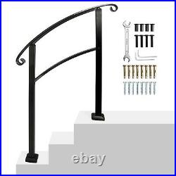 Adjustable Handrail Stair Railing fit 1 to 3 Steps for Outdoor Step Wrought Iron
