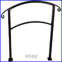 Adjustable Handrail Stair Railing fit 1 to 4 Steps for Outdoor Step Wrought Iron