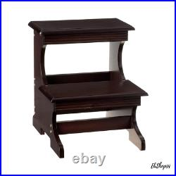 Adults Two Steps Stool High Beds Wooden Dual Height Stair Ladder Kitchen Home