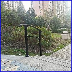 Black Handrail, 3 Step Handrail Fits 1 to 3 Steps Mattle Wrought Iron