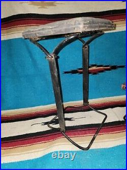 Early Wrought Iron and Wood Folding Seat/stool/step