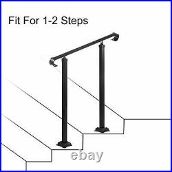 Fit 1 or 2 Steps Wrought Iron Handrail, Outdoor Stair Railing, Adjustable
