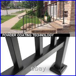 Fits 4 or 5 Concrete Setps Black Wrought Iron Handrail Picket For Outdoor Steps
