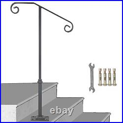 Gray Single Post Handrail Fits 1 or 2 Steps Handrail Wrought Iron Single Post 1