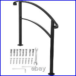 Handrail Adjustable Stair Railing fit 1 to 3 Steps for Outdoor Step Wrought Iron