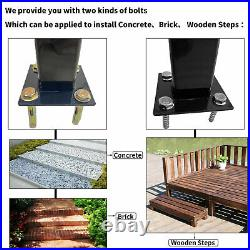 Handrail Adjustable Stair Railing fit 1 to 4 Steps for Outdoor Step Wrought Iron