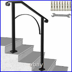 Handrail Arch #2 Fits 2 or 3 Steps Matte Stair Rail Wrought Iron 2FT Black