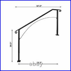 Handrail Arch #4 Fits 4 or 5 Steps Matte Stair Rail Wrought Iron 4FT Black