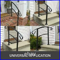 Handrail Wrought Iron Fits 1 or 3 Steps Stair Railing Outdoor Porch Hand Rails