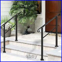 Handrails Outdoor Steps Classic Transitional 3 Step Handrail Kit Wrought Iron