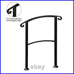 Handrails for Outdoor Steps, Matte Black Wrought Iron Stair Railing Fit 1-3 Step