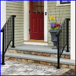 Handrails for Outdoor Steps Matte Black Wrought Iron, Stair Railing for 2-3 Step