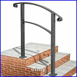 Handrails for Outdoor Steps Mattle Wrought Iron Handrail Stair Rail Gray Color