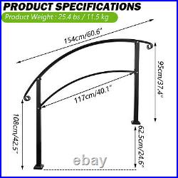 Handrails for Outdoor Steps Sturdy Wrought Iron Stair Railing Fits 4 to 5 Steps