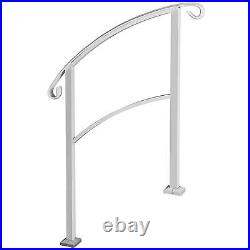 Handrails for Outdoor Steps, Wrought Iron Stair Railing Fit 1 or 3 Step, White