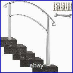 Happybuy 5-Step Handrail Fits 1 or 5 Steps Matte White Stair Rail Wrought Iron