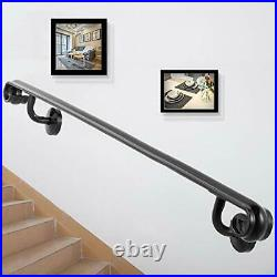Happybuy Four Step 4ft Length Modern Black Wrought Iron Indoor Handrail for S