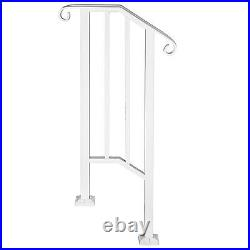 Iron Handrail Picket #1 Fits 1 or 2 Steps Matte White Railing fits Paver Steps