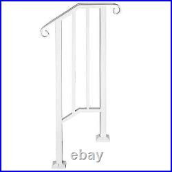 Iron Handrail Picket #1 Fits 1 or 2 Steps Matte White with Installation Kit