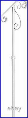 LOVSHARE White Single Post Handrail Wrought Iron Post Mount Step Grab Supports
