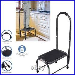 Medical Heavy Duty Step Foot Stool Steel With Handle Non Slip Rubber Platform