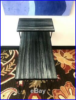 Mid Century Modern 2-Tier Step Table with Black Wrought Iron Hairpin Legs