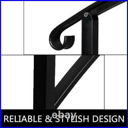 Outdoor 1-3 Steps Adjustable Home Wrought Iron Handrail Rackable Material Black