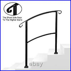 Outdoor 1-3 Steps Adjustable Wrought Iron Handrail Decking Material Black New