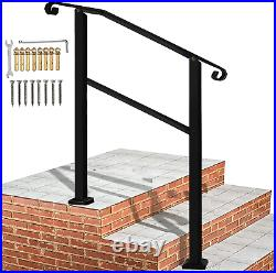 Outdoor Hand Rails for Steps, 3 Step Handrail Black Wrought Iron Handrail with