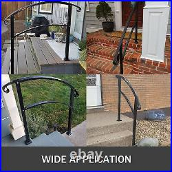 Outdoor Handrails Fits 1 to 3 Steps Wrought Iron Handrail For 1-3 Steps
