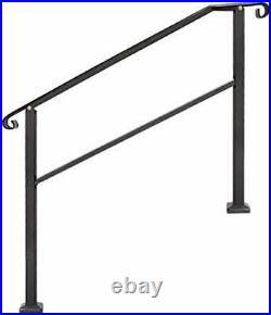 Outdoor Stair Railing, Black Wrought Iron Handrail, 4 Step Transitional Handrail