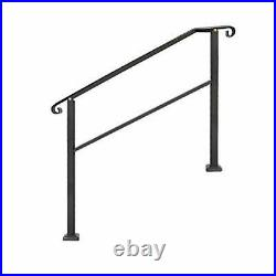 Outdoor Stair Railing, Black Wrought Iron Handrail 4 Step with Installation Kit