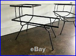 Pair of Frank and Sons Wrought Iron Step Side Tables After Nelson for Arbuck