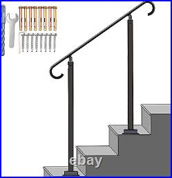 SPACEUP Metal Outdoor Stair Railing 38 Step Handrail Fit 0-3 Step Wrought Iron