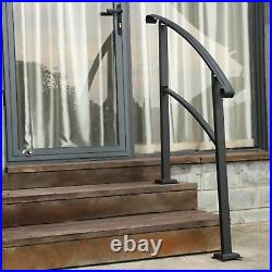 SPACEUP Outdoor Stair Arch Handrial 1-3 Steps, Wrought Iron Railing Matte Black