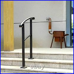SPACEUP Outdoor Stair Arch Handrial 1-s, Wrought Iron Railing Matte 2 Step