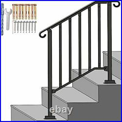 SPACEUP Step Handrail Fit for 2 or 3 Steps Wrought Iron 2-3 Step Railing